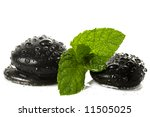 fresh mint and black stone - stock photo