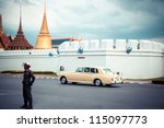 BANGKOK, THAILAND - AUGUST 03: Royal Familys Rolls Royce leaves the Grand Palace on August 3, 2012 in Bangkok, Thailand. August 12 is the Queen's birthday, celebrated by Thais all over the world - stock photo