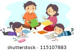 Illustration of a Family Making Paper Crafts Together - stock vector