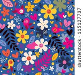 flowers and birds pattern - stock photo