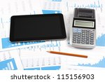 Concept of business report analysis - digital tablet, graph, sheet, calculator and pencil. You may place your own screen, for example web page on tablet screen. - stock photo