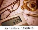 Verifying balance sheet - stock photo