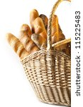French Bread Baguette  in basket - stock photo