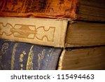 Antique books closeup - stock photo
