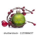 Green Christmas ball isolated on white background cutout - stock photo