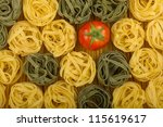 Italian colors pasta background with tomato - stock photo