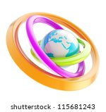 Mobile connection and internet conception: Earth globe blue emblem icon inside the colorful glossy ring torus hoops isolated on white background - stock photo