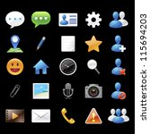 chat application icons and elements on black background : no.1 - stock vector