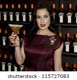 NEW YORK - OCTOBER 15: DITA VON TEESE CELEBRATES COCKTAIL COUTURE AT LA MAISON COINTREAU DEBUTS on October 15, 2012 in NYC - stock photo