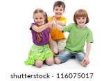 Childhood friends collaboration concept - kids showing thumbs up sign, isolated - stock photo