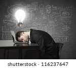man sleep at a laptop, idea concept - stock photo