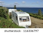 Two caravans at a sea side camping - stock photo