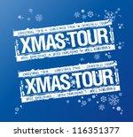 Christmas tour stamps set. - stock vector