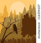 Owl in forest vector background - stock vector