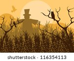 Halloween background vector with owl and pumpkin guy in the forest - stock vector