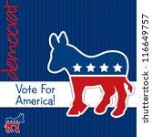 """Vote for America"" Democrat election card/poster in vector format. - stock vector"