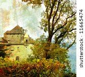 swiss castle - picture in painting style - stock photo
