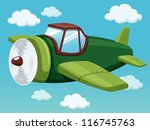 illustration of plane on sky - stock vector