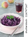 Braised red cabbage with apple - stock photo