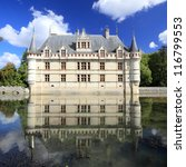 Chateau d'Azay-le-Rideau and peaceful reflection, it is one of the earliest French Renaissance chateaux, and list as an UNESCO world heritage site. - stock photo