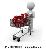 man pushing a cart full of gifts - stock photo