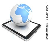 black tablet PC with blue globe sphere - stock photo