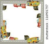 City - urban - car - frame - illustration for the children - stock photo