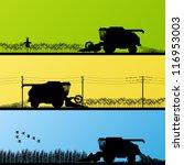 Agricultural combine harvester seasonal farming landscape scenes illustration collection background vector - stock vector