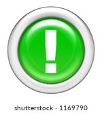 Green Exclamation Button - stock photo