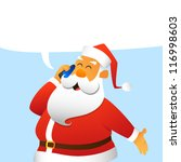 Santa Claus calling by mobile phone - stock vector