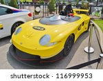 MONTREAL, CA - JUNE 09: Yellow Porsche 33 Sport Race Car at a Car Exhibit on June 09, 2010 in Montreal, Canada. Car exhibit at the famous Terraces Bonsecours in Montreal, Canada. - stock photo