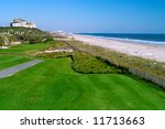 scenic ocean golf course - stock photo