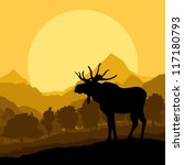 Moose in wild nature landscape background illustration vector - stock vector