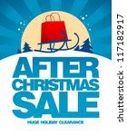 After christmas sale design template with shopping bag on a sled. - stock vector