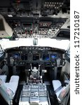 Airplane cockpit of a 737-800 on a horizontal format - stock photo