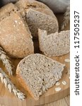 bread with oat flakes close up - stock photo