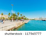 View on Barcelona sea port. Spain - stock photo