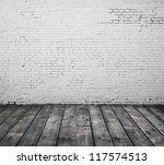 brick interior and wooden floor - stock photo