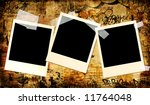 urban art style background with instant photo frames - stock photo