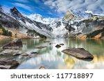 Mountain Lake, West Siberia, Altai mountains. - stock photo