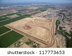 Early stages of large riparian project in Phoenix, Arizona - stock photo