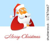 Santa Claus above a white background - stock photo