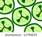 Sliced slice cucumber pattern illustration - stock photo