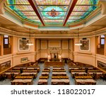 CHEYENNE, WYOMING - JULY 18:  Wyoming House of Representatives room as viewed from the balcony of the State Capitol Building on July 18, 2012 in Cheyenne, Wyoming - stock photo