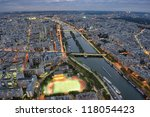 Paris night scene city of lights, view from Eiffel Tower, France - stock photo