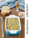 Chicken liver pate with pistachios - stock photo