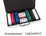 Poker set in metal suitcase isolated on white - stock photo