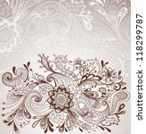 Romantic hand drawn floral background with label, illustration design, vector - stock vector