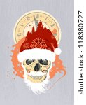 New Year design template with Santa's skull. - stock vector