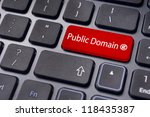 message on keyboard enter key, to illustrate the concepts of public domain. - stock photo